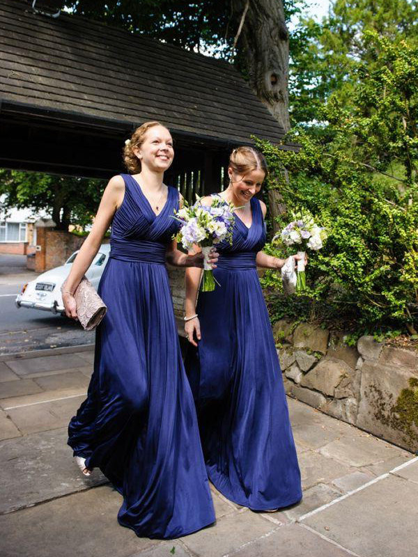 Fashion A-Line/Princess Pleats Chiffon V-neck Floor-Length Bridesmaid Dresses YB44135