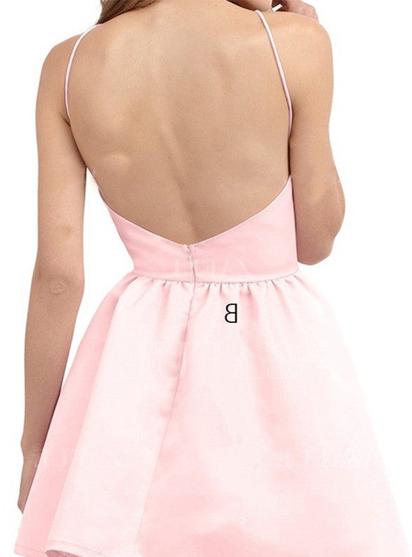 Stylish A-Line/Princess Sleeveless Short/Mini Halter Satin Dresses YB416
