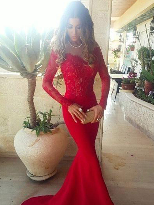 Stylish Trumpet/Mermaid Long Sleeves Lace Off-the-Shoulder Sweep/Brush Train Satin Dresses YB426