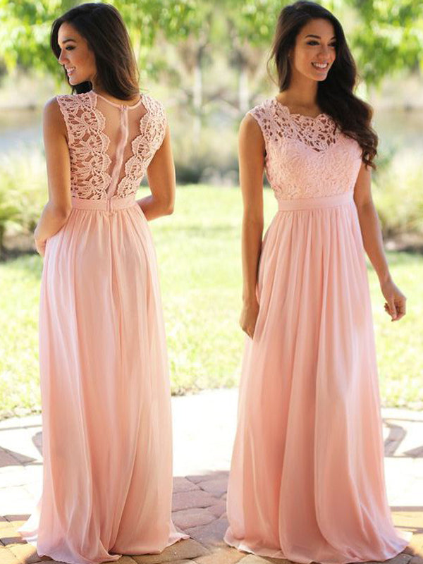 Fashion A-Line/Princess Sleeveless Applique Scoop Floor-Length Chiffon Dresses YB442