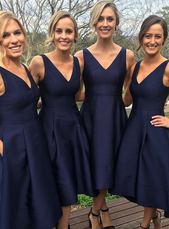 Stylish A-Line/Princess Sleeveless Tea-Length V-neck Satin Bridesmaid Dresses YB550