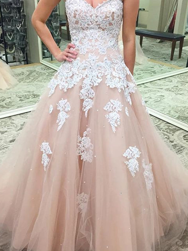 Fashion Ball Gown Sleeveless Applique Sweetheart Tulle Floor-Length Dresses YB587