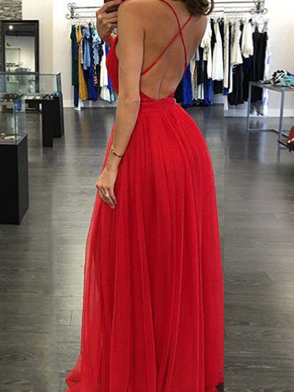 Stylish A-Line/Princess Straps Sleeveless Spaghetti Floor-Length Chiffon Dresses YB592