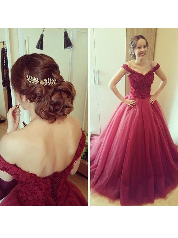 Fashion Ball Gown Applique Sleeveless Off-the-Shoulder Floor-Length Tulle Dresses YB593