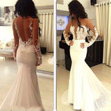 Stylish Trumpet/Mermaid Chiffon Long Sleeves Scoop Applique Sweep/Brush Train Dresses YB703