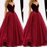 Fashion Ball Gown Sleeveless Tulle Sweetheart Floor-Length Dresses YB706