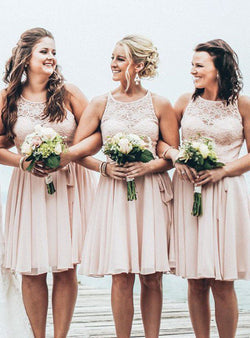 A-Line Chiffon Scoop Sleeveless Short/Mini With Lace Bridesmaid Dresses