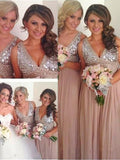 Stylish A-Line/Princess Sleeveless Floor-Length V-neck Sequin Chiffon Bridesmaid Dresses YB712