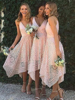A-Line Lace V-neck Sleeveless Asymmetrical With Layers Bridesmaid Dresses