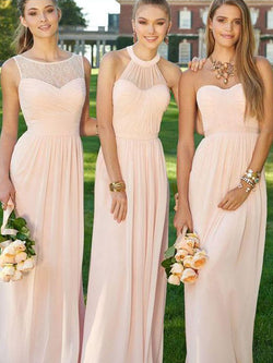 A-Line Chiffon Sweetheart Sleeveless Floor-Length With Ruched Bridesmaid Dress