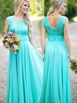 A-Line Chiffon Sleeveless Scoop Floor-Length With Lace Bridesmaid Dresses