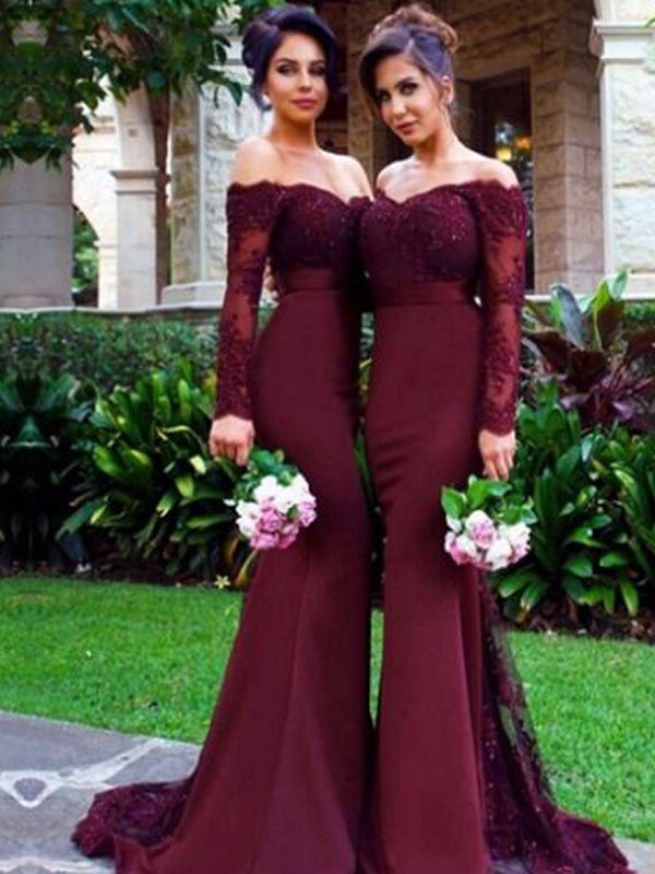 Stylish Trumpet/Mermaid Long Sleeves Satin Off-the-Shoulder Sweep/Brush Train Bridesmaid Dresses YB726