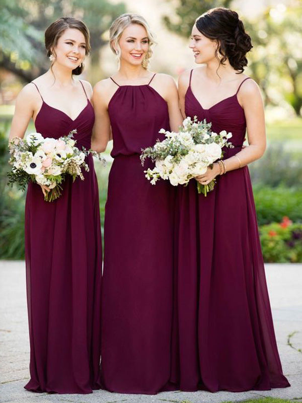 Stylish A-Line/Princess Floor-Length Chiffon Sleeveless Bridesmaid Dresses YB730