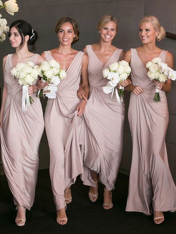 Fashion A-Line/Princess Sleeveless Floor-Length V-neck Chiffon Bridesmaid Dresses YB733