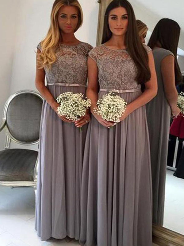 A-Line Chiffon Scoop Sleeveless Floor-Length With Applique Bridesmaid Dresses