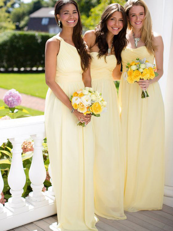 Stylish A-Line/Princess Floor-Length Chiffon Sleeveless Bridesmaid Dresses YB740