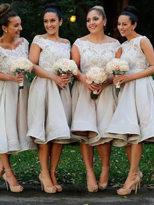 Fashion A-Line/Princess Sleeveless Elastic Off-the-Shoulder Woven Satin Knee-Length Bridesmaid Dresses YB751