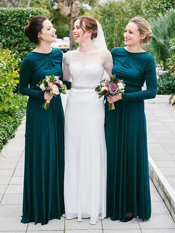Stylish A-Line/Princess Floor-Length Long Sleeves Scoop Jersey Bridesmaid Dresses YB754