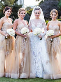 Fashion A-Line/Princess Sleeveless Applique Sweetheart Tulle Bridesmaid Dresses YB755