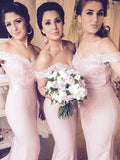 Stylish Trumpet/Mermaid Off-the-Shoulder Jersey Sleeveless Floor-Length Bridesmaid Dresses YB762