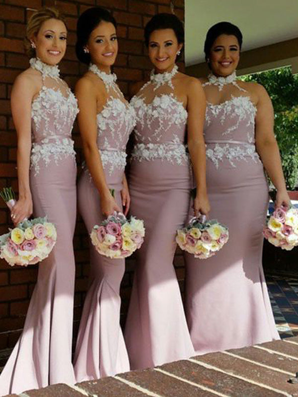 Stylish Trumpet/Mermaid Sleeveless Satin Halter Floor-Length Bridesmaid Dresses YB767