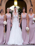 Fashion Trumpet/Mermaid V-neck Satin Sleeveless Floor-Length Bridesmaid Dresses YB768
