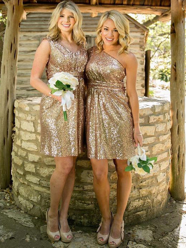 Sheath Sequins Sweetheart Sleeveless Short/Mini With Sequin Bridesmaid Dresses
