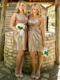 Stylish Sheath/Column Sequins Short/Mini Sleeveless Bridesmaid Dresses YB769