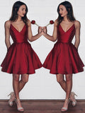 Stylish A-Line/Princess Short/Mini Satin Sleeveless V-neck Dresses YB839