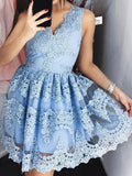 Fashion A-Line/Princess Lace Short/Mini Sleeveless V-neck Dresses YB842