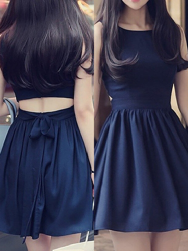 Fashion A-Line/Princess Chiffon Short/Mini Sleeveless Scoop Dresses YB852