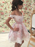Stylish A-Line/Princess Short/Mini Applique Sleeveless Off-the-Shoulder Tulle Dresses YB874