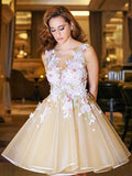 Fashion A-Line/Princess Short/Mini Applique Sleeveless Scoop Organza Dresses YB875