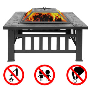 Wood Burning Fire Pit Outdoor Heater Backyard Patio Deck Stove Fireplace - QSR-Unlimited
