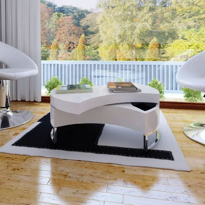 High-gloss white with adjustable coffee table shape - QSR-Unlimited
