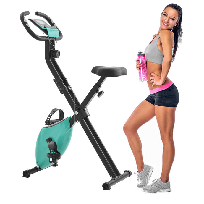 Folding Stationary Upright Indoor Cycling Bike w/Resistance Bands - QSR-Unlimited