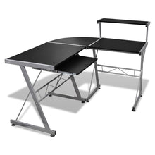 Load image into Gallery viewer, Computer Desk Workstation With Pull Out Keyboard Tray Black - QSR-Unlimited