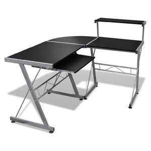 Computer Desk Workstation With Pull Out Keyboard Tray Black - QSR-Unlimited