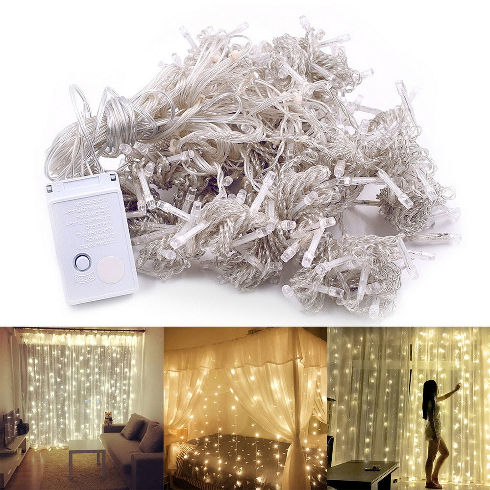 300-LED Warm White Light Romantic Christmas Outdoor  Curtain String Light - QSR-Unlimited