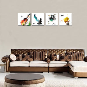 4 Pieces Canvas Wall Art Guitar Piano Phonograph and Drum Set - QSR-Unlimited