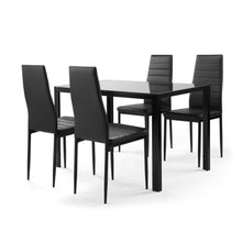 Load image into Gallery viewer, 5 piece dining table set for 4,  tempered glass dining table, 4 faux leather chairs, black - QSR-Unlimited