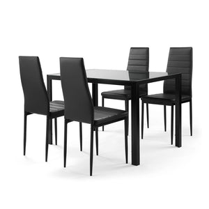 5 piece dining table set for 4,  tempered glass dining table, 4 faux leather chairs, black - QSR-Unlimited