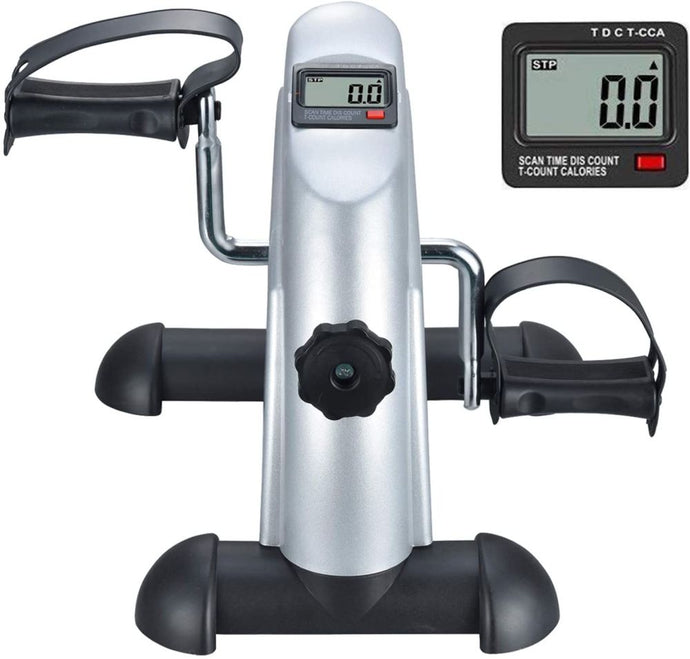 Exercise Bike Pedal Exerciser Foot Peddler Portable Therapy w/ Digital Monitor - QSR-Unlimited