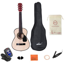 "Load image into Gallery viewer, 30"" Junior Acoustic Guitar Starer Kit with Carrying Bag, Picks, E-Tuner, Strap, Natural - QSR-Unlimited"