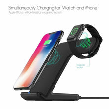 Load image into Gallery viewer, 2 in 1 Qi Wireless Charging Dock Stand For Apple iPhone 8/XR/X/XS Max/11 Pro Max - QSR-Unlimited