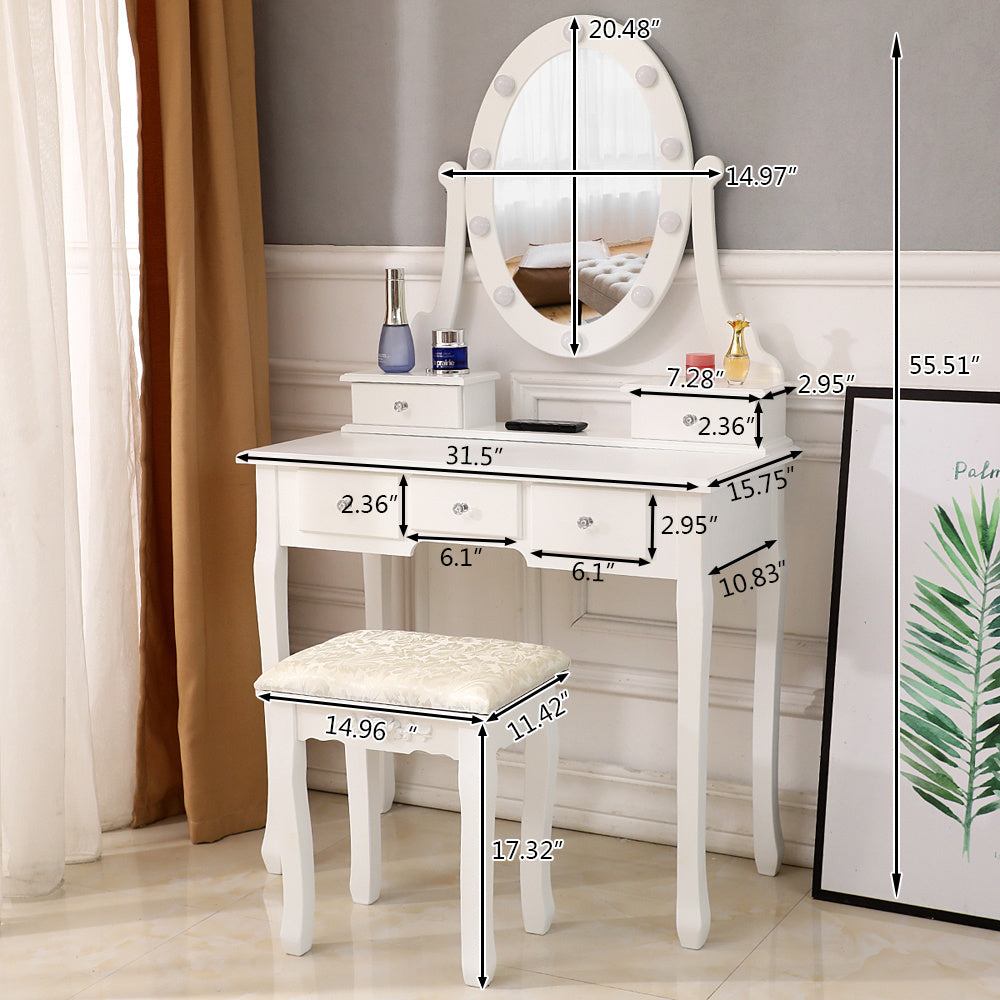 Makeup Vanity Dressing Table Desk Drawer Mirror Stool Set w/10 Led Light - QSR-Unlimited