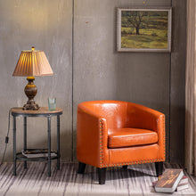 Load image into Gallery viewer, Circle Chair Modern Minimalist Single Sofa with Copper Nails PU Brown Orange - QSR-Unlimited