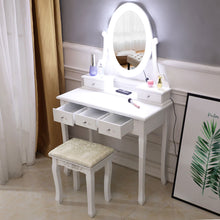 Load image into Gallery viewer, Makeup Vanity Dressing Table Desk Drawer Mirror Stool Set w/10 Led Light - QSR-Unlimited