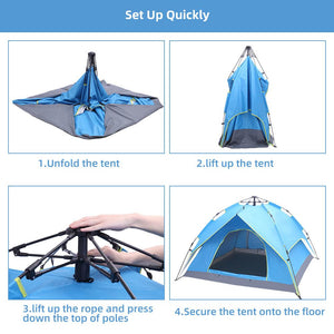 Double-Deck Tow-Door Hydraulic Automatic Tent Build Outdoor Tent Blue - QSR-Unlimited