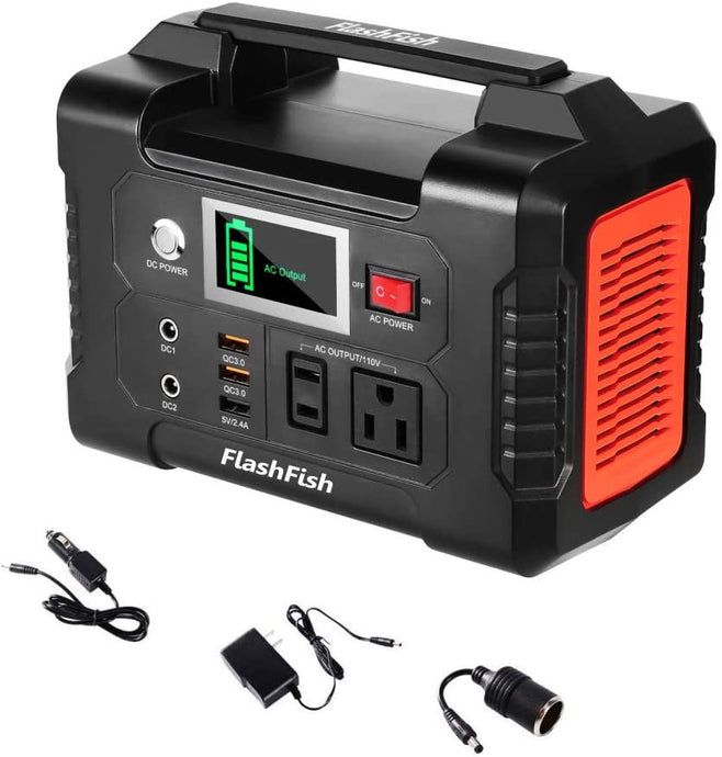200W Portable Power Station, FlashFish 40800mAh Solar Generator with 110V AC Outlet - QSR-Unlimited
